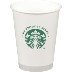 We Proudly Serve Branded Hot Cups - 12 fl oz - 1000 / Carton - White, Green - Paper - Hot Drink, Beverage, Cappuccino, Coffee, Tea, Hot Chocolate