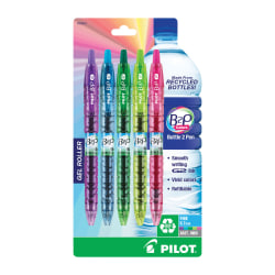 Pilot® B2P Retractable Gel Pens, Fine Point, 0.7 mm, Assorted Barrels, Assorted Ink Colors, Pack Of 5