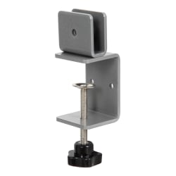 """Boss Office Products Plexiglas Panel Desk Clamps, 3-3/4"""" x 2-1/4"""", Set Of 2 Clamps"""
