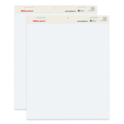 """Office Depot® Brand Standard Easel Pads, 34"""" x 27"""", 30% Recycled, White, Pack Of 2"""