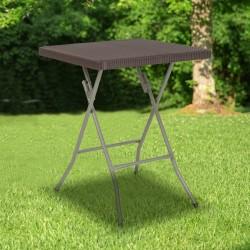 "Flash Furniture Square Rattan Plastic Folding Table, 29""H x 23-1/2""W x 23-1/2""D, Brown"