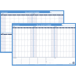"AT-A-GLANCE® 30% Recycled Undated Erasable/Reversible Wall Planner, 90/120 Day, 36"" x 24"", Black/Blue (PM-239-28)"