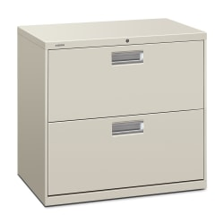 "HON® 600 30""W Lateral 2-Drawer Standard File Cabinet With Lock, Metal, Light Gray"