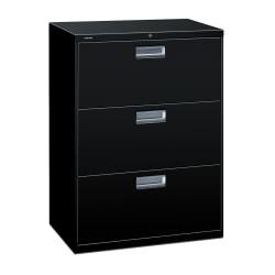"HON® Brigade® 600 30""W Lateral 3-Drawer File Cabinet, Metal, Black"