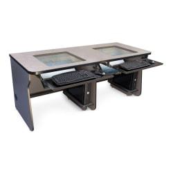 """Hoffman Mira Vista Glass Top Computer Desk, 72""""W, Gray"""