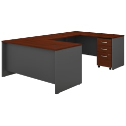 """Bush Business Furniture Components 60""""W U-Shaped Desk With 3-Drawer Mobile File Cabinet, Hansen Cherry/Graphite Gray, Standard Delivery"""