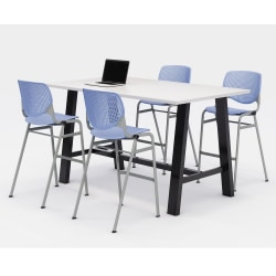 """KFI Midtown Bistro Table With 4 Stacking Chairs, 41""""H x 36""""W x 72""""D, Designer White/Peri Blue"""