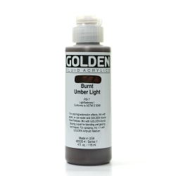 Golden Fluid Acrylic Paint, 4 Oz, Burnt Umber Light