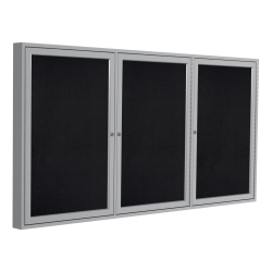 "Ghent 3-Door Enclosed Recycled Rubber Bulletin Board, 48"" x 96"", Black Satin Aluminum Frame"