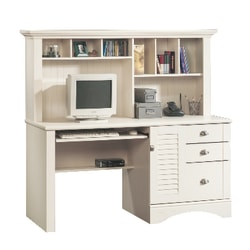 Sauder® Harbor View Collection Computer Desk With Hutch, Antiqued White
