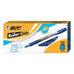 BIC® Z4 Plus Rollerball Pens, Bold Point, 0.7 mm, Gray Barrel, Blue Ink, Pack Of 12 Pens