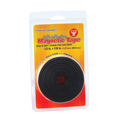 """Hygloss Magnetic Tape Strips, 0.5"""" x 3.33 Yd., Black, Pack Of 6"""