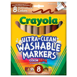 Crayola® Multicultural Washable Markers, Assorted Colors, Box Of 8