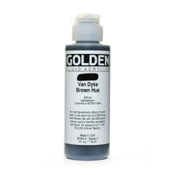 Golden Fluid Acrylic Paint, 4 Oz, Historical Van Dyke Brown Hue
