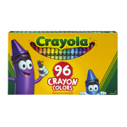 Crayola® Standard Crayons With Built-In Sharpener, Assorted Colors, Big Box Of 96 Crayons
