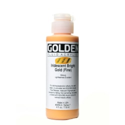 Golden Fluid Acrylic Paint, 4 Oz, Iridescent Bright Gold Fine