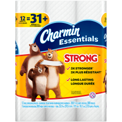 Charmin® Essentials® Strong 1-Ply Toilet Paper Giant Rolls, 300 Sheets Per Roll, Pack Of 12 Rolls