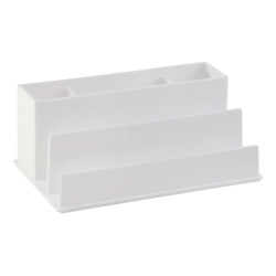Realspace® White Plastic 5-Compartment Desk Organizer
