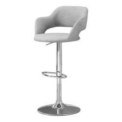 Monarch Specialties Hydraulic-Lift Bar Stool, Fabric, Gray/Chrome