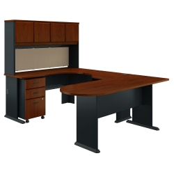 Bush Business Furniture Office Advantage U Shaped Corner Desk With Hutch And Mobile File Cabinet, Hansen Cherry/Galaxy, Premium Installation