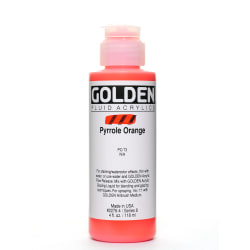 Golden Fluid Acrylic Paint, 4 Oz, Pyrrole Orange