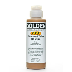 Golden Fluid Acrylic Paint, 4 Oz, Transparent Yellow Iron Oxide