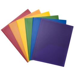 Office Depot® Brand 2-Pocket Poly Portfolios, Letter Size, Assorted Colors, Case Of 48 Folders