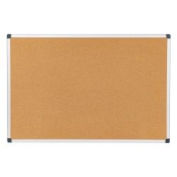 "FORAY™ Cork Bulletin Board, 36"" x 24"", Natural Brown, Silver Aluminum Frame"