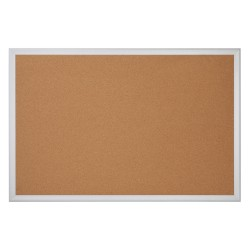 "Office Depot® Brand Cork Bulletin Board, 24"" x 36"", Aluminum Frame With Silver Finish"