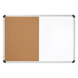 "Office Depot® Magentic Dry-Erase/Bulletin Board, Cork/Steel, 24"" x 36"", Natural/White Board, Silver Aluminum Frame"