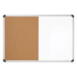 "Realspace™ Magnetic Dry-Erase Whiteboard/Cork Bulletin Board, 24"" x 36"", Silver Aluminum Frame"