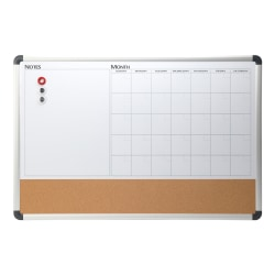 "Realspace™ Magnetic Dry-Erase Whiteboard/Cork Calendar Board, 24"" x 36"", Silver Aluminum Frame"