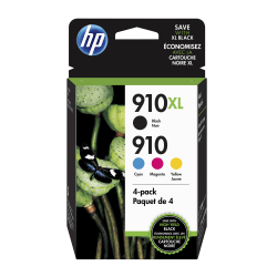 HP 910XL Black And 910 Cyan/Magenta/Yellow Ink Cartridges (3JB41AN#140)