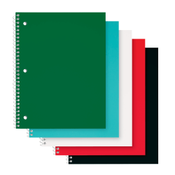 "Office Depot® Brand Poly Cover Wirebound Notebooks, 8"" x 10-1/2"", 1 Subject, College Ruled, 70 Sheets, Assorted Colors, Pack of 12 Notebooks"