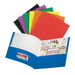 Office Depot® Brand 2-Pocket Portfolios, Letter Size, Assorted Colors, Case of 100 Portfolios