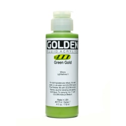 Golden Fluid Acrylic Paint, 4 Oz, Green Gold