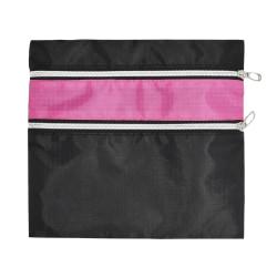 """Office Depot® Brand 2-Zipper Roll-Up Pencil Pouch, 9"""" x 10"""", Black/Pink"""