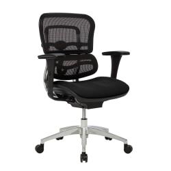WorkPro® 12000 Series Ergonomic Mesh/Premium Fabric Mid-Back Chair, Black/Chrome