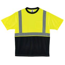 Ergodyne GloWear 8289BK Type-R Class 2 T-Shirt, XX-Large, Black/Lime