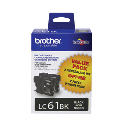 Brother® LC61BK, Black Ink Cartridges, Pack Of 2