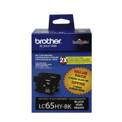 Brother® LC65HY-BK, High-Yield Black Ink Cartridges, Pack Of 2