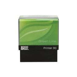 "Custom 2000 PLUS® Green Line® Self-Inking Stamp, P30GL, 80% Recycled, 11/16"" x 1-13/16"", Impression"