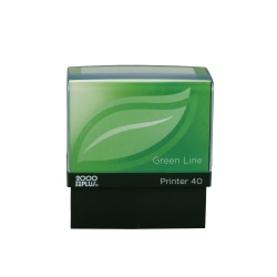 "Custom 2000 PLUS® Green Line® Self-Inking Stamp, P40GL, 80% Recycled, 13/16"" x 2-3/16"" Impression"
