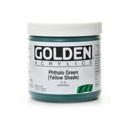 Golden Heavy Body Acrylic Paint, 16 Oz, Phthalo Green/Yellow Shade