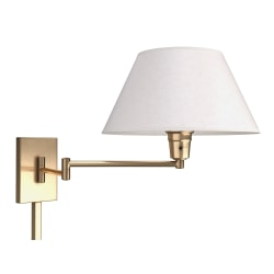 "Kenroy Home Simplicity Wall-Mount Swing Arm Lamp, 11""H, Vintage Brass"