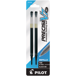 Pilot® Precise™ Liquid Ink Retractable Rollerball Refills, V7, 0.7 mm, Fine Point, Black, Pack Of 2