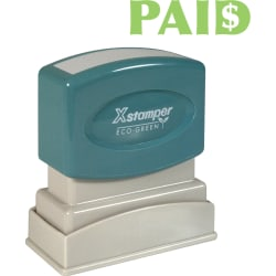 "Xstamper Pre-Inked PAID Title Stamp - Message Stamp - ""PAID"" - 0.50"" Impression Width x 1.63"" Impression Length - 100000 Impression(s) - Light Green - Recycled - 1 Each"