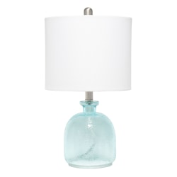 "Lalia Home Hammered Glass Jar Table Lamp, 20""H, White Shade/Clear Blue Base"