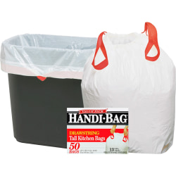 "Webster Handi-Bag Drawstring Tall Kitchen Bags - 13 gal - 24"" Width x 27"" Length x 0.69 mil (18 Micron) Thickness - White - Resin - 300/Carton - 50 Per Box - Kitchen"