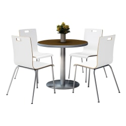 """KFI Studios Jive Round Pedestal Table With 4 Stacking Chairs, 29""""H x 36""""W x 36""""D, White/Walnut"""